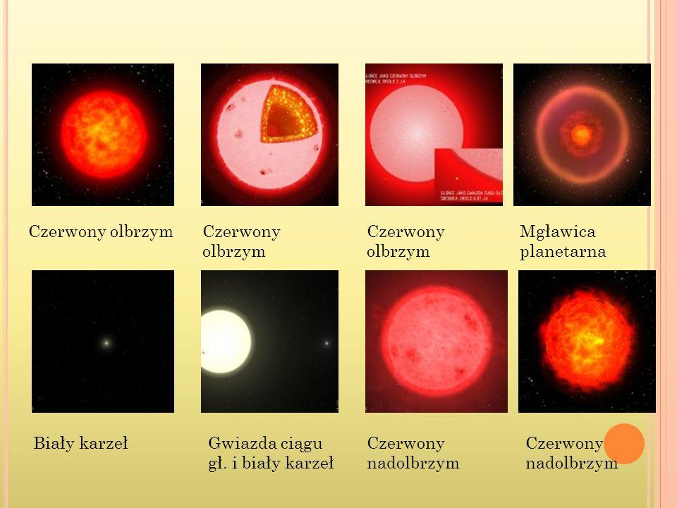 Czerwony nadolbrzym Gwiazda ciągu gł. i biały karzeł Biały karzeł Mgławica planetarna Czerwony olbrzym