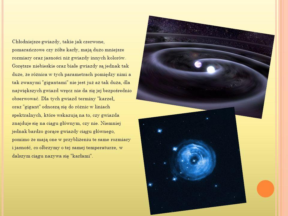 Chłodniejsze gwiazdy, takie jak czerwone, pomarańczowe czy żółte karły, mają dużo mniejsze rozmiary oraz jasności niż gwiazdy innych kolorów. Gorętsze