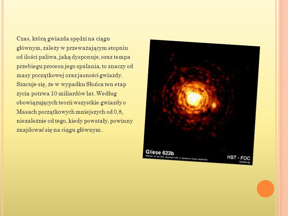 Czas, którą gwiazda spędzi na ciągu głównym, zależy w przeważającym stopniu od ilości paliwa, jaką dysponuje, oraz tempa przebiegu procesu jego spalan