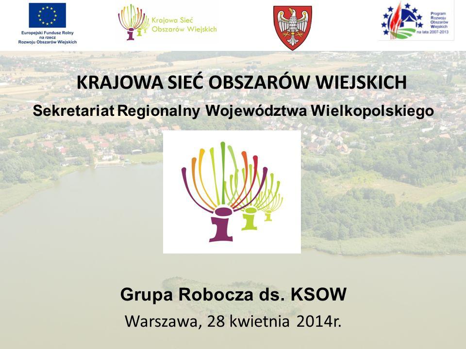 KRAJOWA SIEĆ OBSZARÓW WIEJSKICH Sekretariat Regionalny Województwa Wielkopolskiego Grupa Robocza ds. KSOW Warszawa, 28 kwietnia 2014r.