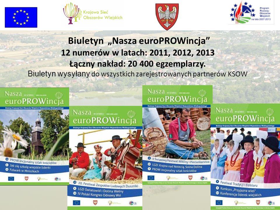 Biuletyn Nasza euroPROWincja 12 numerów w latach: 2011, 2012, 2013 Łączny nakład: 20 400 egzemplarzy. Biuletyn wysyłany do wszystkich zarejestrowanych