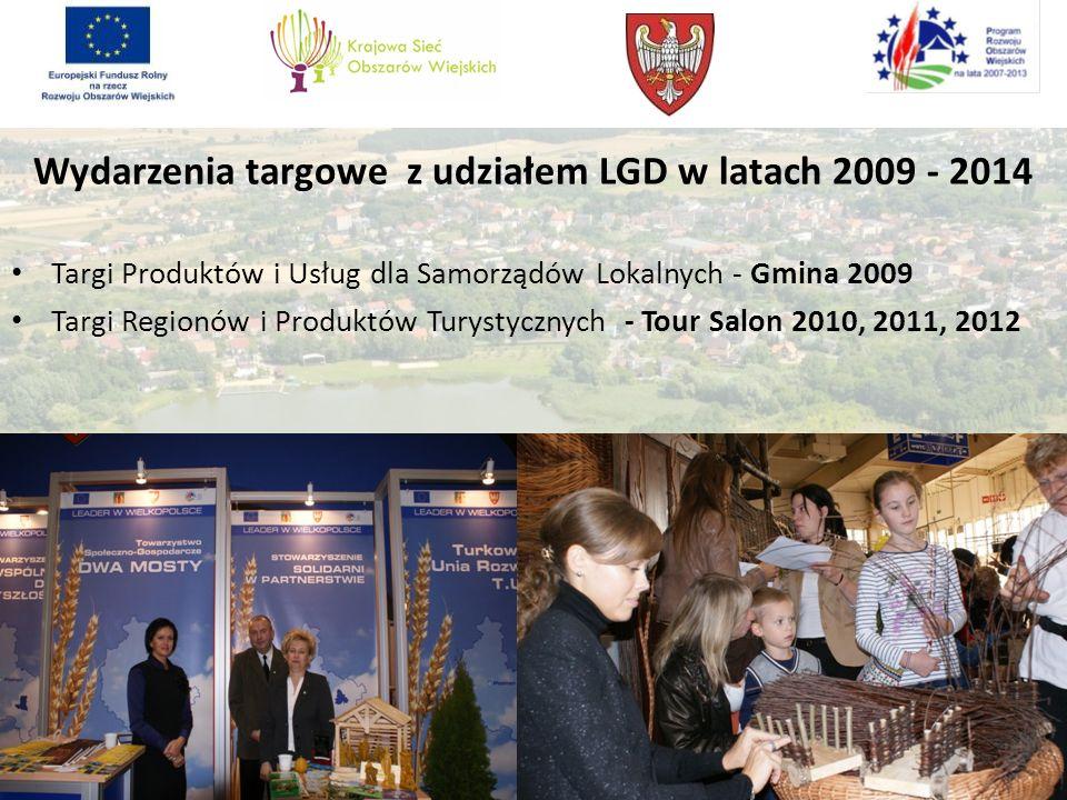 Wydarzenia targowe z udziałem LGD w latach 2009 - 2014 Targi Produktów i Usług dla Samorządów Lokalnych - Gmina 2009 Targi Regionów i Produktów Turyst