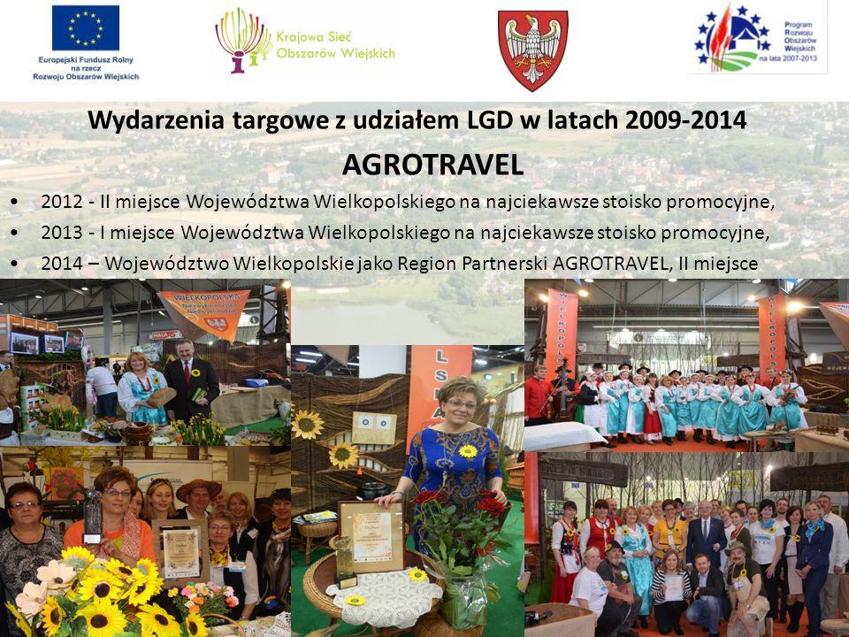 Wydarzenia targowe z udziałem LGD w latach 2009-2014 AGROTRAVEL 2012 - II miejsce Województwa Wielkopolskiego na najciekawsze stoisko promocyjne, 2013