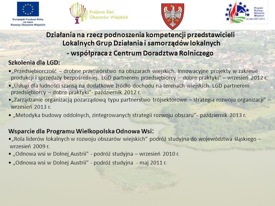 Działania na rzecz podnoszenia kompetencji przedstawicieli Lokalnych Grup Działania i samorządów lokalnych - współpraca z Centrum Doradztwa Rolniczego