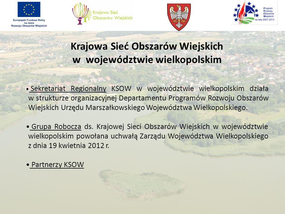 Krajowa Sieć Obszarów Wiejskich w województwie wielkopolskim Sekretariat Regionalny KSOW w województwie wielkopolskim działa w strukturze organizacyjn