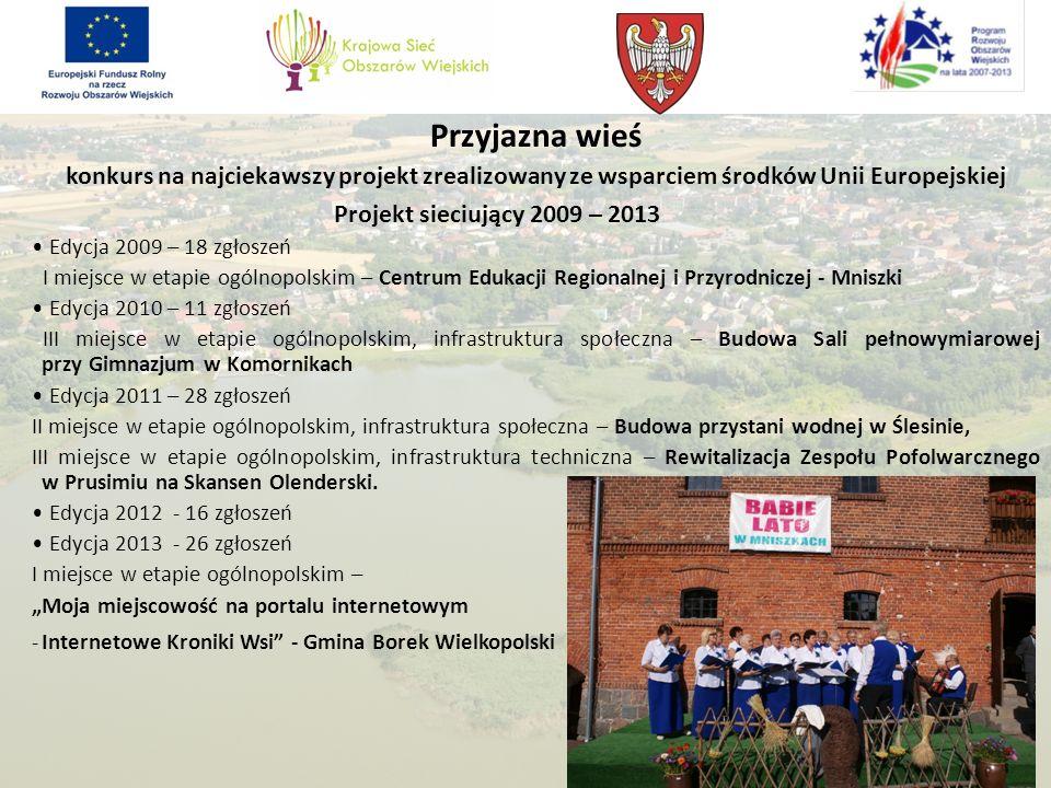 Przyjazna wieś konkurs na najciekawszy projekt zrealizowany ze wsparciem środków Unii Europejskiej Projekt sieciujący 2009 – 2013 Edycja 2009 – 18 zgł