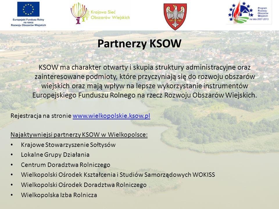 Partnerzy KSOW KSOW ma charakter otwarty i skupia struktury administracyjne oraz zainteresowane podmioty, które przyczyniają się do rozwoju obszarów w