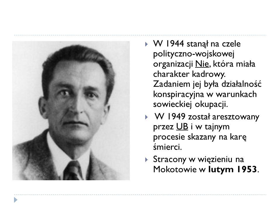 W 1944 stanął na czele polityczno-wojskowej organizacji Nie, która miała charakter kadrowy. Zadaniem jej była działalność konspiracyjna w warunkach so