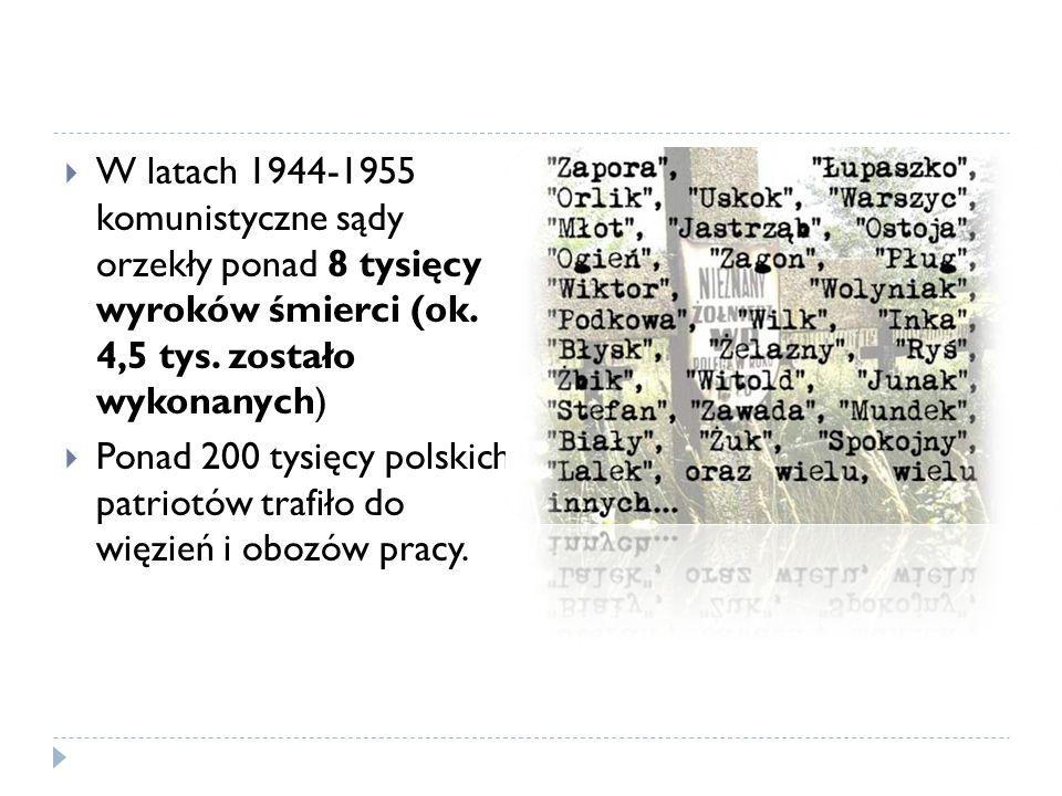 W latach 1944-1955 komunistyczne sądy orzekły ponad 8 tysięcy wyroków śmierci (ok. 4,5 tys. zostało wykonanych) Ponad 200 tysięcy polskich patriotów t