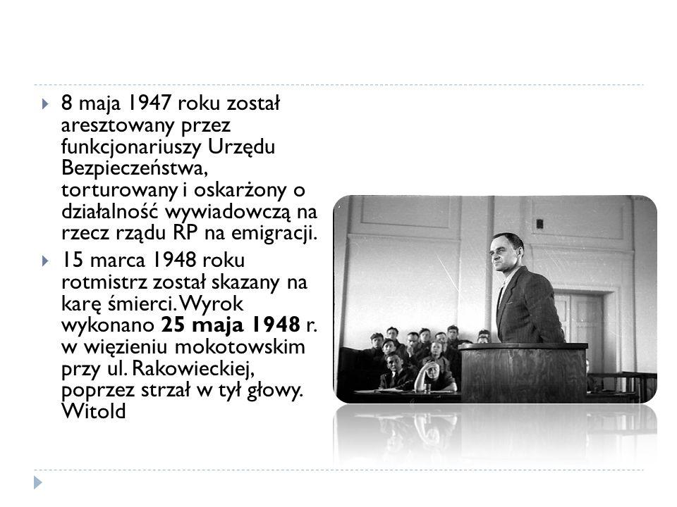 8 maja 1947 roku został aresztowany przez funkcjonariuszy Urzędu Bezpieczeństwa, torturowany i oskarżony o działalność wywiadowczą na rzecz rządu RP n