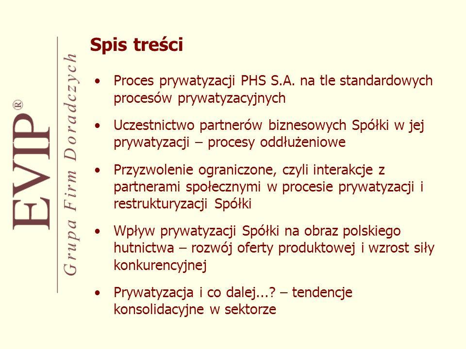 Specyficzny proces przekształceń branży łączący elementy restrukturyzacji, konsolidacji i prywatyzacji Wielość uczestników procesu; złożone wielokierunkowe interakcje: –partnerzy biznesowi –otoczenie regulacyjne –partnerzy społeczni Skala wpływu procesu prywatyzacji na: –Spółkę, –branżę, –gospodarkę Szczególny charakter prywatyzacji PHS Dlaczego nie standard...?