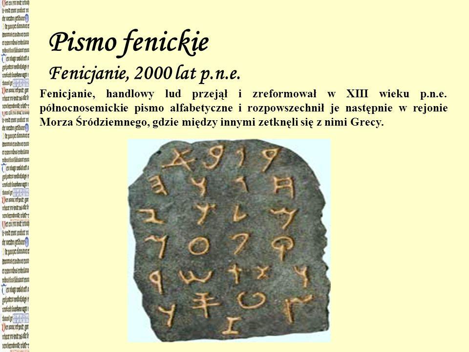Pismo fenickie Fenicjanie, 2000 lat p.n.e. Fenicjanie, handlowy lud przejął i zreformował w XIII wieku p.n.e. północnosemickie pismo alfabetyczne i ro