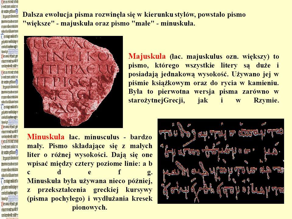 Dalsza ewolucja pisma rozwinęła się w kierunku stylów, powstało pismo