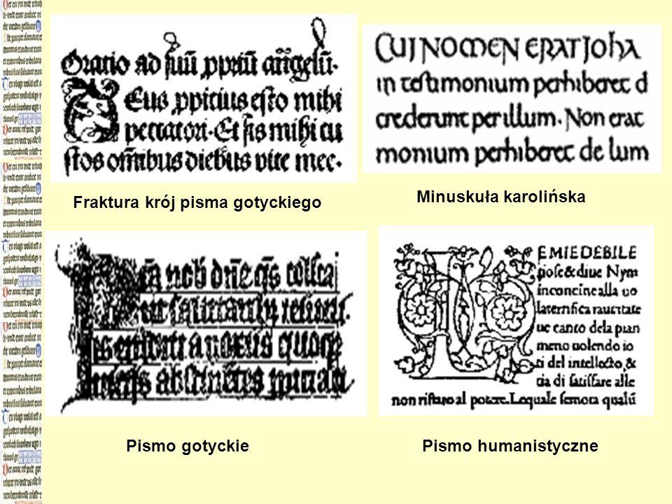 Fraktura krój pisma gotyckiego Minuskuła karolińska Pismo gotyckiePismo humanistyczne