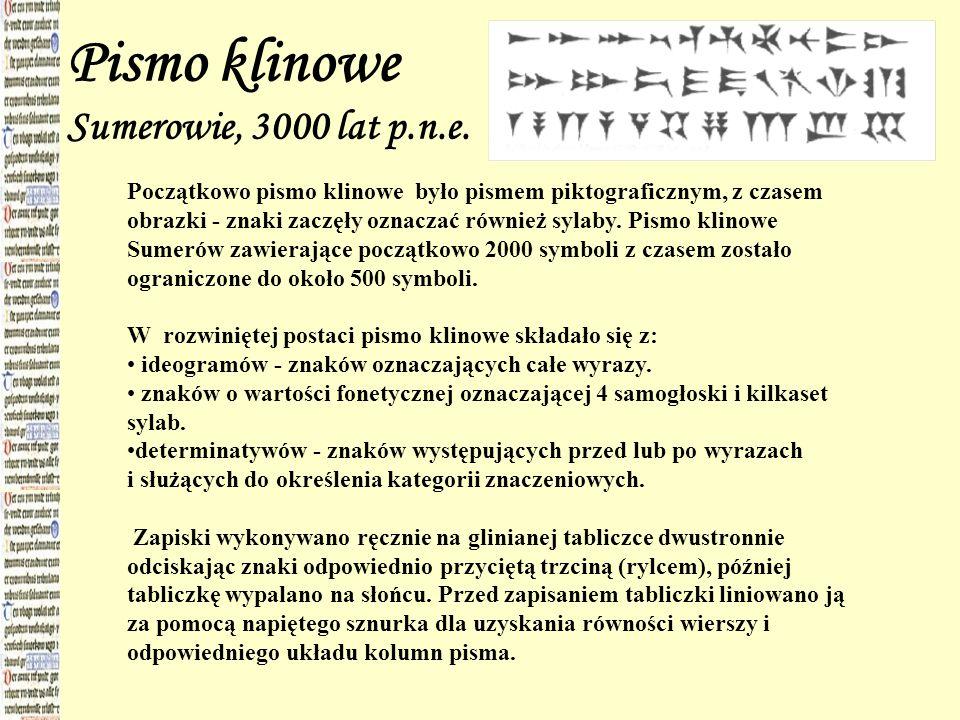 Pismo klinowe Sumerowie, 3000 lat p.n.e. Początkowo pismo klinowe było pismem piktograficznym, z czasem obrazki - znaki zaczęły oznaczać również sylab