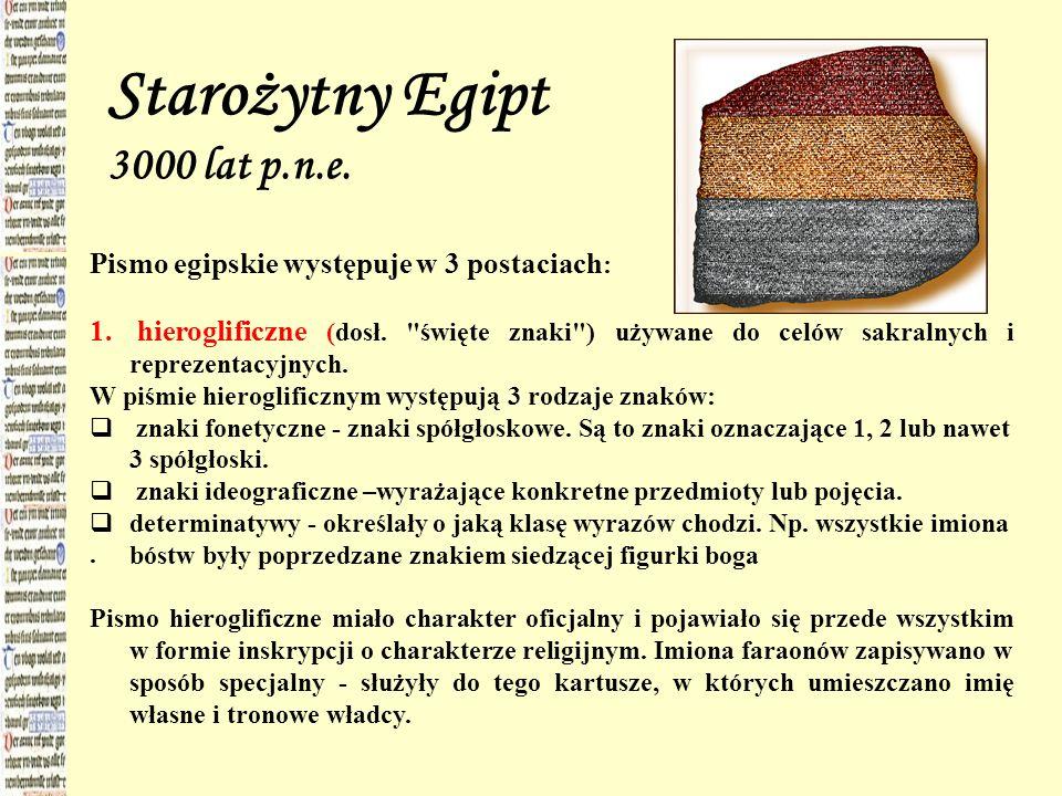 Starożytny Egipt 3000 lat p.n.e. Pismo egipskie występuje w 3 postaciach : 1. hieroglificzne (dosł.