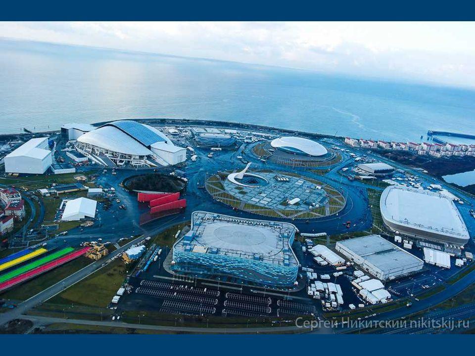 Schemat Parku Olimpijskiego w Soczi Budowane od zera obiekty sportowe w Soczi ułożone są zgrabnie w obrębie wielkiego koła wokół Placu Medali, na któr