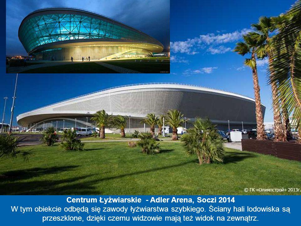 Mały Pałac Lodu - Szajba Arena, Soczi 2014 Szajba po rosyjsku znaczy krążek do hokeja. Tak więc nazwa zdradza natychmiast funkcję obiektu oraz rosyjsk