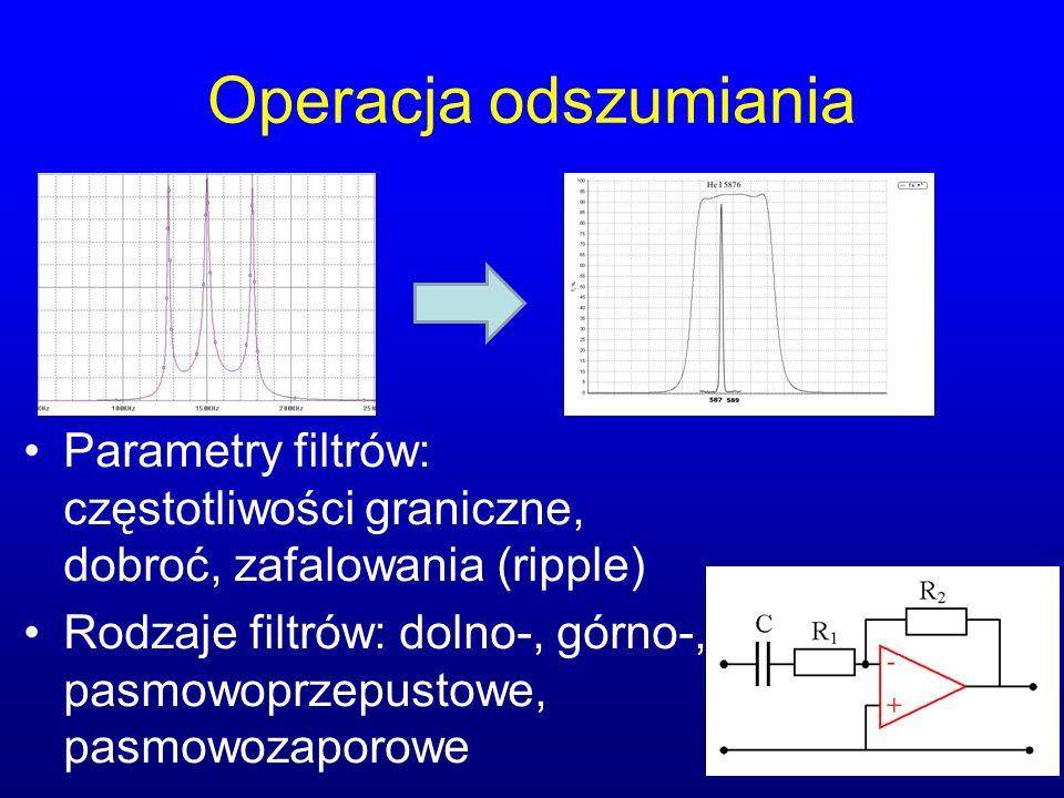 Operacja odszumiania Parametry filtrów: częstotliwości graniczne, dobroć, zafalowania (ripple) Rodzaje filtrów: dolno-, górno-, pasmowoprzepustowe, pasmowozaporowe