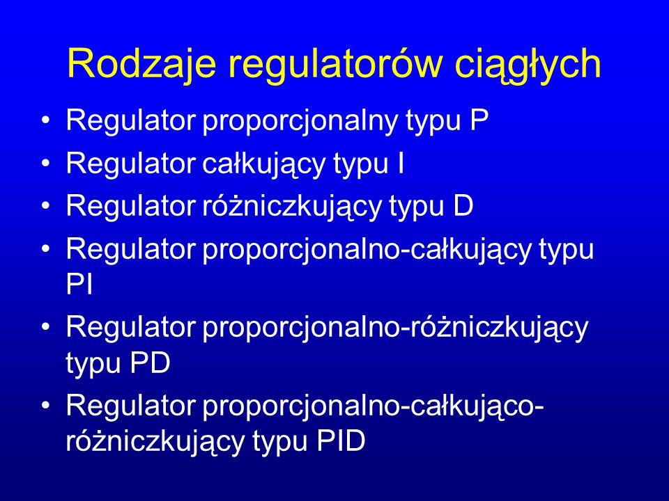 Rodzaje regulatorów ciągłych Regulator proporcjonalny typu P Regulator całkujący typu I Regulator różniczkujący typu D Regulator proporcjonalno-całkujący typu PI Regulator proporcjonalno-różniczkujący typu PD Regulator proporcjonalno-całkująco- różniczkujący typu PID
