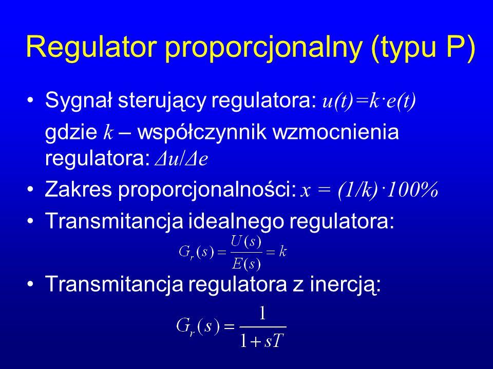 Regulator proporcjonalny (typu P) Sygnał sterujący regulatora: u(t)=k·e(t) gdzie k – współczynnik wzmocnienia regulatora: Δu/Δe Zakres proporcjonalności: x = (1/k)·100% Transmitancja idealnego regulatora: Transmitancja regulatora z inercją: