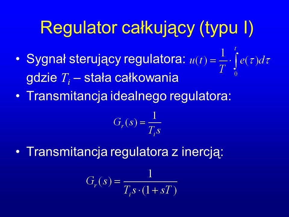 Regulator całkujący (typu I) Sygnał sterujący regulatora: gdzie T i – stała całkowania Transmitancja idealnego regulatora: Transmitancja regulatora z inercją: