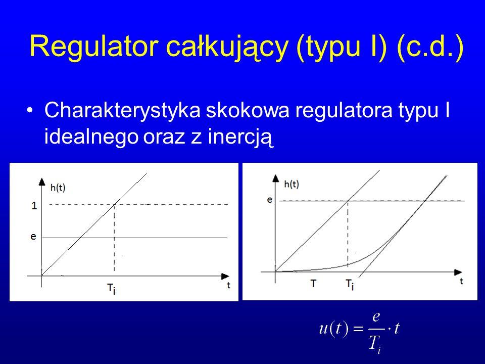 Regulator całkujący (typu I) (c.d.) Charakterystyka skokowa regulatora typu I idealnego oraz z inercją
