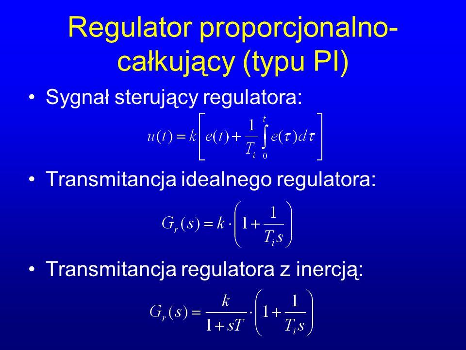 Regulator proporcjonalno- całkujący (typu PI) Sygnał sterujący regulatora: Transmitancja idealnego regulatora: Transmitancja regulatora z inercją: