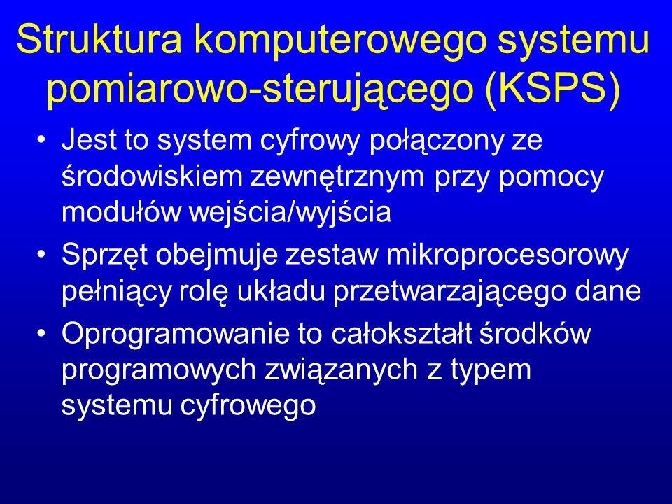 Struktura komputerowego systemu pomiarowo-sterującego (KSPS) Jest to system cyfrowy połączony ze środowiskiem zewnętrznym przy pomocy modułów wejścia/wyjścia Sprzęt obejmuje zestaw mikroprocesorowy pełniący rolę układu przetwarzającego dane Oprogramowanie to całokształt środków programowych związanych z typem systemu cyfrowego