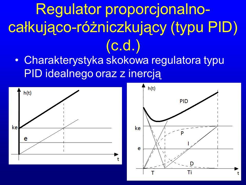 Regulator proporcjonalno- całkująco-różniczkujący (typu PID) (c.d.) Charakterystyka skokowa regulatora typu PID idealnego oraz z inercją
