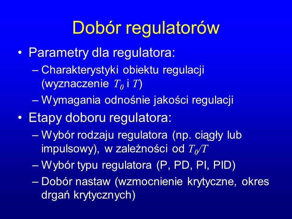 Dobór regulatorów Parametry dla regulatora: –Charakterystyki obiektu regulacji (wyznaczenie T 0 i T ) –Wymagania odnośnie jakości regulacji Etapy doboru regulatora: –Wybór rodzaju regulatora (np.