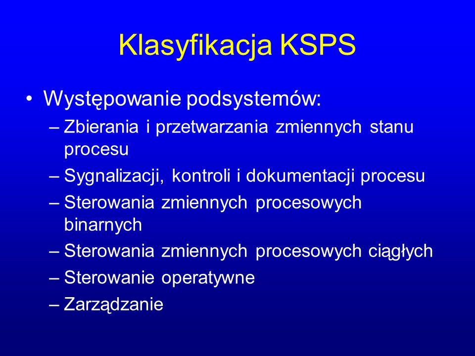 Klasyfikacja KSPS Występowanie podsystemów: –Zbierania i przetwarzania zmiennych stanu procesu –Sygnalizacji, kontroli i dokumentacji procesu –Sterowania zmiennych procesowych binarnych –Sterowania zmiennych procesowych ciągłych –Sterowanie operatywne –Zarządzanie