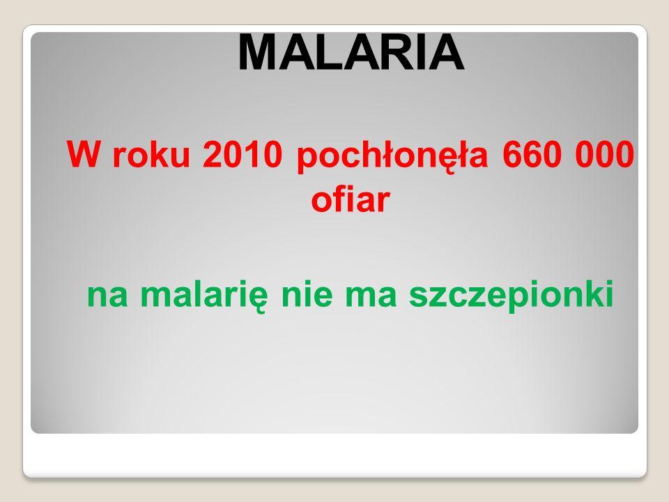 MALARIA W roku 2010 pochłonęła 660 000 ofiar na malarię nie ma szczepionki