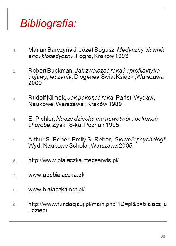 28 Bibliografia: 1. Marian Barczyński, Józef Bogusz, Medyczny słownik encyklopedyczny,Fogra, Kraków 1993 2. Robert Buckman, Jak zwalczać raka? : profi