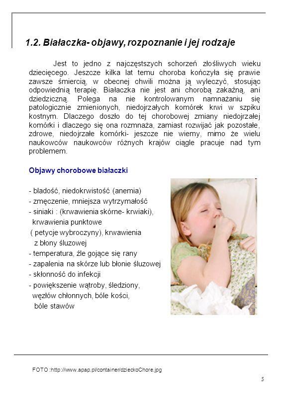 5 1.2. Białaczka- objawy, rozpoznanie i jej rodzaje Jest to jedno z najczęstszych schorzeń złośliwych wieku dziecięcego. Jeszcze kilka lat temu chorob
