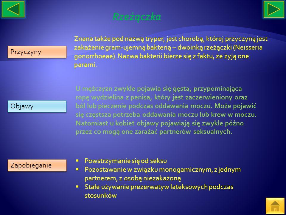 Przyczyny Objawy Zapobieganie Znana także pod nazwą tryper, jest chorobą, której przyczyną jest zakażenie gram-ujemną bakterią – dwoinką rzeżączki (Ne