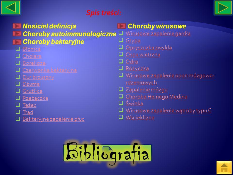 Spis treści: Nosiciel definicja Choroby autoimmunologiczne Choroby bakteryjne Błonica Cholera Borelioza Czerwonka bakteryjna Dur brzuszny Dżuma Gruźli