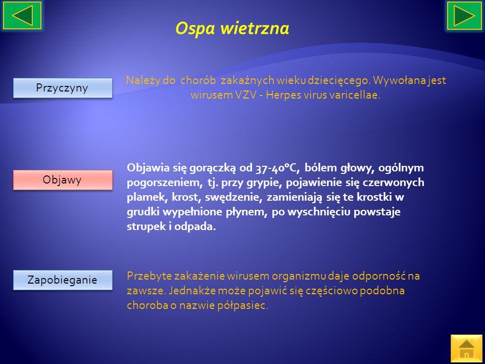 Przyczyny Objawy Zapobieganie Należy do chorób zakaźnych wieku dziecięcego. Wywołana jest wirusem VZV - Herpes virus varicellae. Przebyte zakażenie wi