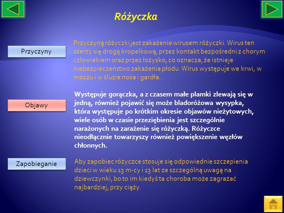 Przyczyny Objawy Zapobieganie Przyczyną różyczki jest zakażenie wirusem różyczki. Wirus ten szerzy się drogą kropelkową, przez kontakt bezpośredni z c