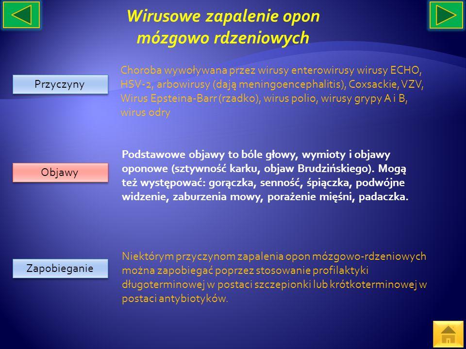 Przyczyny Objawy Zapobieganie Choroba wywoływana przez wirusy enterowirusy wirusy ECHO, HSV-2, arbowirusy (dają meningoencephalitis), Coxsackie, VZV,
