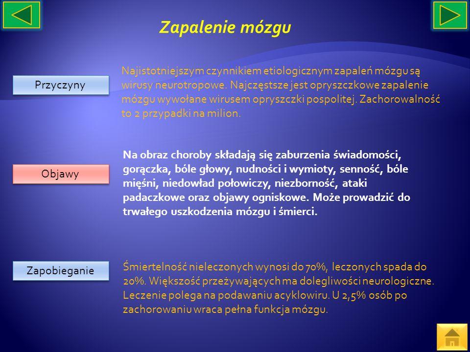 Przyczyny Objawy Zapobieganie Najistotniejszym czynnikiem etiologicznym zapaleń mózgu są wirusy neurotropowe. Najczęstsze jest opryszczkowe zapalenie