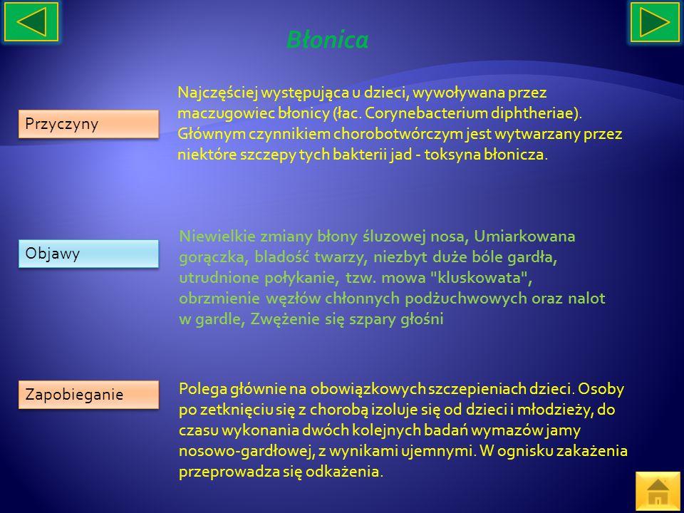 Przyczyny Objawy Zapobieganie Najczęściej występująca u dzieci, wywoływana przez maczugowiec błonicy (łac. Corynebacterium diphtheriae). Głównym czynn