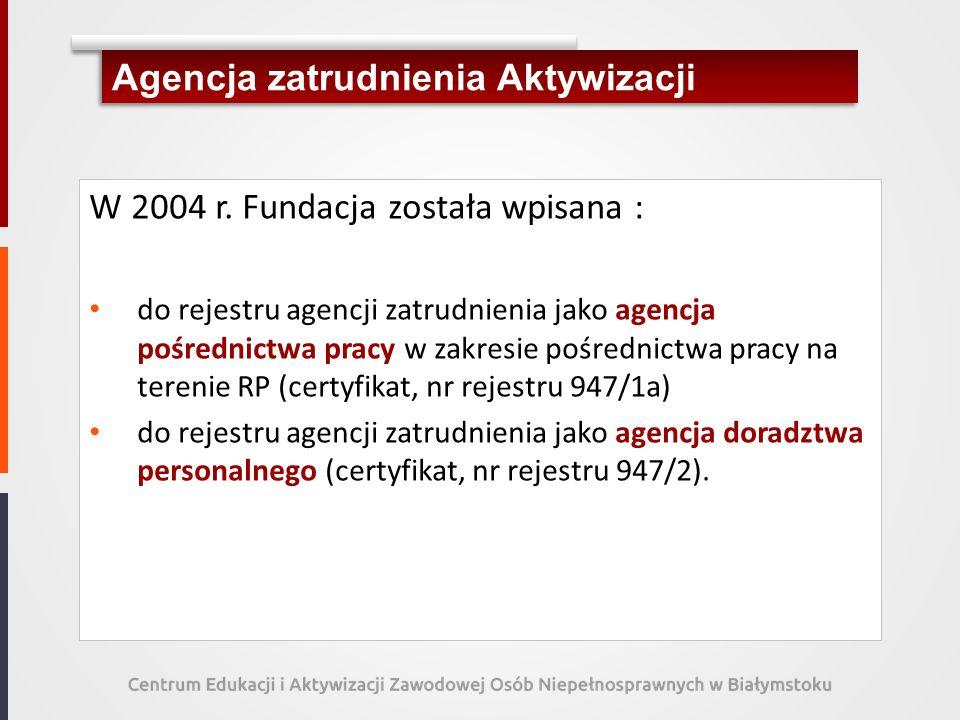 Agencja zatrudnienia Aktywizacji W 2004 r. Fundacja została wpisana : do rejestru agencji zatrudnienia jako agencja pośrednictwa pracy w zakresie pośr