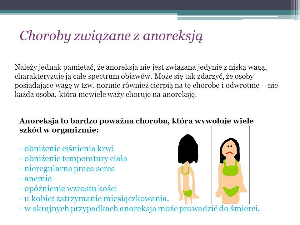 Należy jednak pamiętać, że anoreksja nie jest związana jedynie z niską wagą, charakteryzuje ją całe spectrum objawów. Może się tak zdarzyć, że osoby p