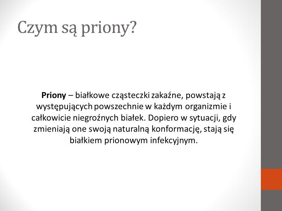 Choroby prionowe Choroby prionowe, czyli zakaźne encefalopatie gąbczaste, to choroby układu nerwowego zwierząt spowodowane nagromadzeniem białek prionowych.