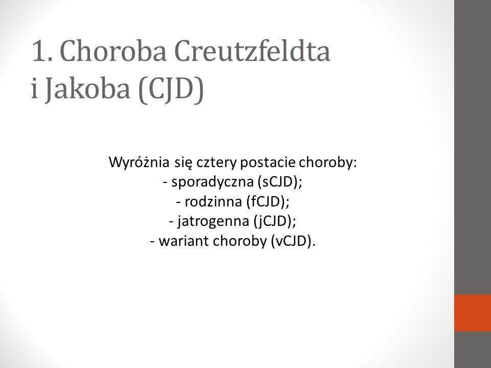 Sporadyczna postać CJD Sporadyczna postać choroby stanowi większość przypadków i występuje na całym świecie.