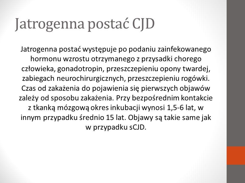 Rodzinna postać CJD Rodzinna postać CJD jest chorobą dziedziczną (autosomalnie dominująco) i infekcyjną.