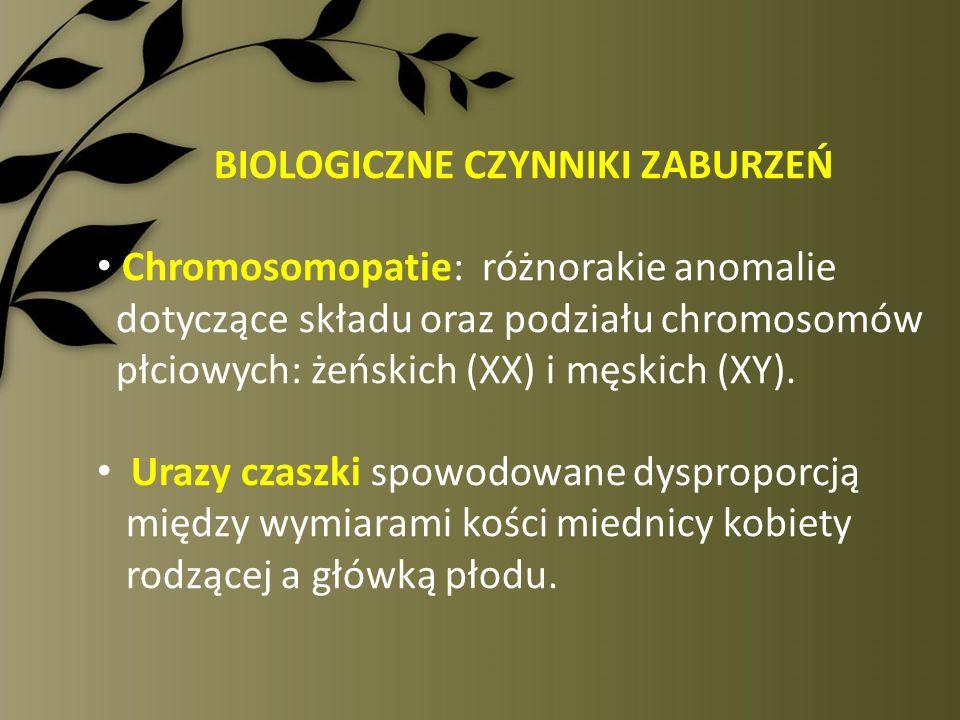 BIOLOGICZNE CZYNNIKI ZABURZEŃ Chromosomopatie: różnorakie anomalie dotyczące składu oraz podziału chromosomów płciowych: żeńskich (XX) i męskich (XY).