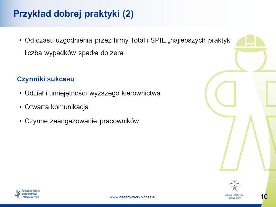10 www.healthy-workplaces.eu Przykład dobrej praktyki (2) Od czasu uzgodnienia przez firmy Total i SPIE najlepszych praktyk liczba wypadków spadła do zera.