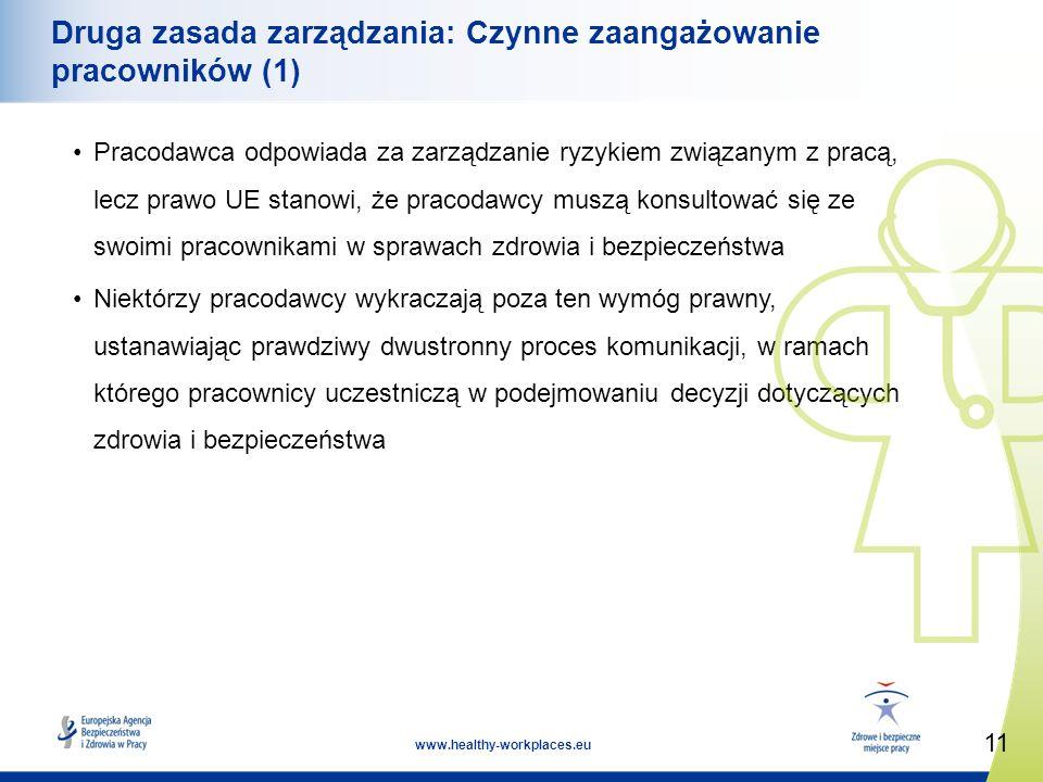 11 www.healthy-workplaces.eu Druga zasada zarządzania: Czynne zaangażowanie pracowników (1) Pracodawca odpowiada za zarządzanie ryzykiem związanym z pracą, lecz prawo UE stanowi, że pracodawcy muszą konsultować się ze swoimi pracownikami w sprawach zdrowia i bezpieczeństwa Niektórzy pracodawcy wykraczają poza ten wymóg prawny, ustanawiając prawdziwy dwustronny proces komunikacji, w ramach którego pracownicy uczestniczą w podejmowaniu decyzji dotyczących zdrowia i bezpieczeństwa